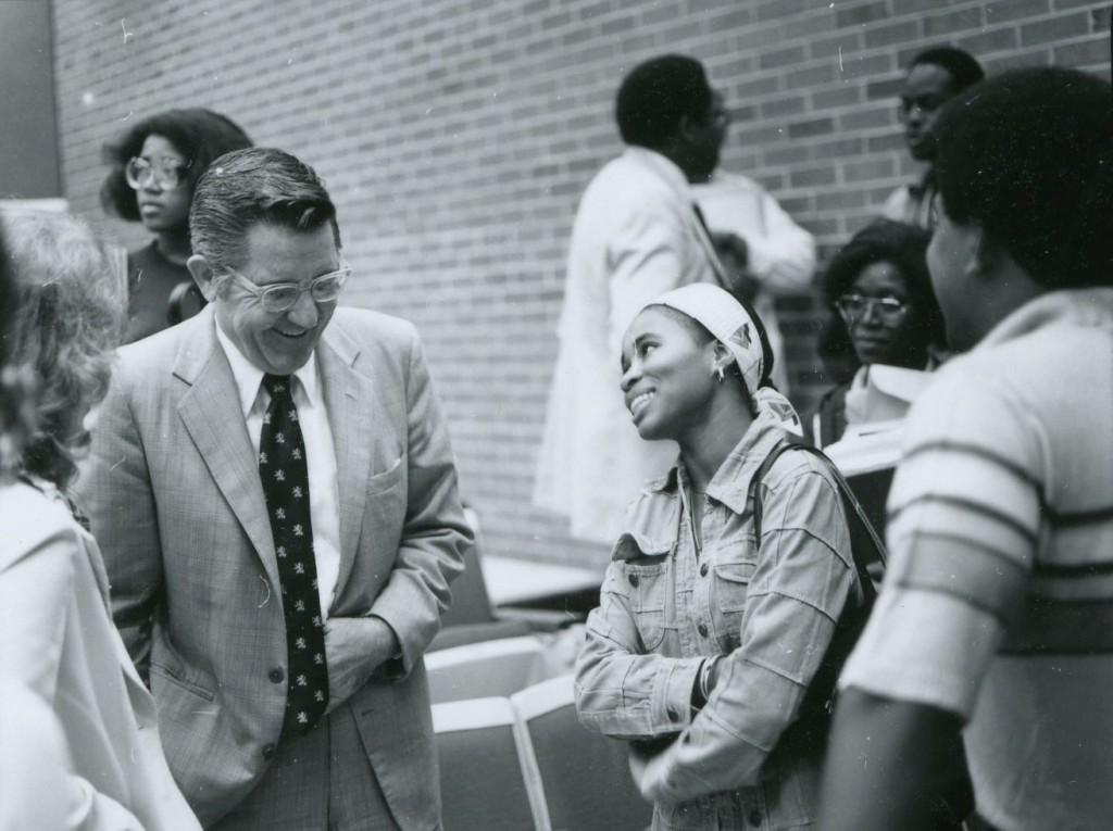 Bill Friday with students in 1978.