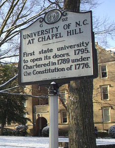 UNC Chapel Hill's historic marker which proclaims its status as the first state university.