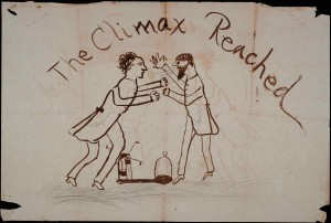 "An ink drawing showing two men in suits fighting over an air pump, which is on the ground between them. One man is labelled ""Chemistry"" and the other ""Physics."" The man labelled ""Chemistry"" has a speech bubble coming from his mouth that reads, ""I'll be damned if you shall!"" Above the men is the header ""The Climax Reached."""