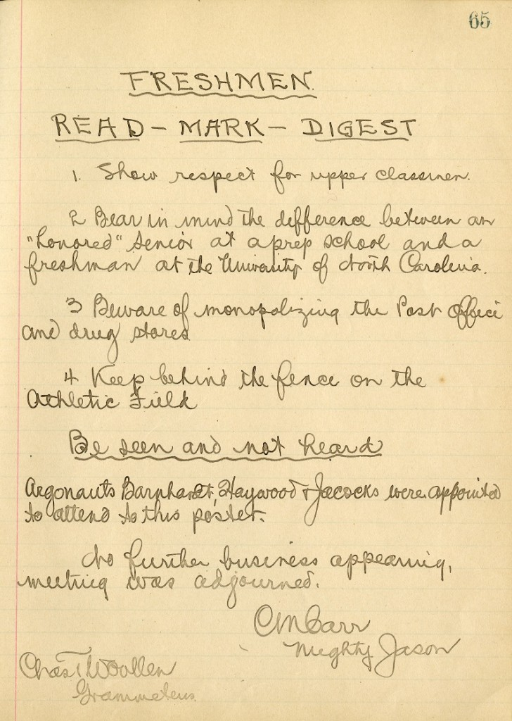 Text of a poster produced as part of an anti-hazing campaign recorded in the Order of the Golden Fleece Minutes, November 1904. From the Records of the Order of the Golden Fleece, (#40161), University Archives.
