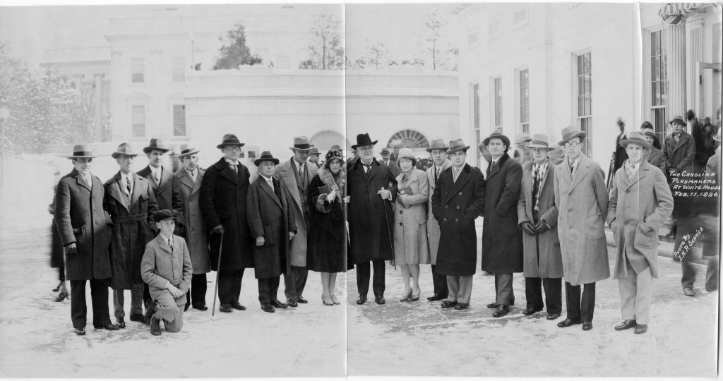 The Carolina Playmakers at the White House following their visit with the President. (Dramatic Art Department Records #40080, University Archives.)