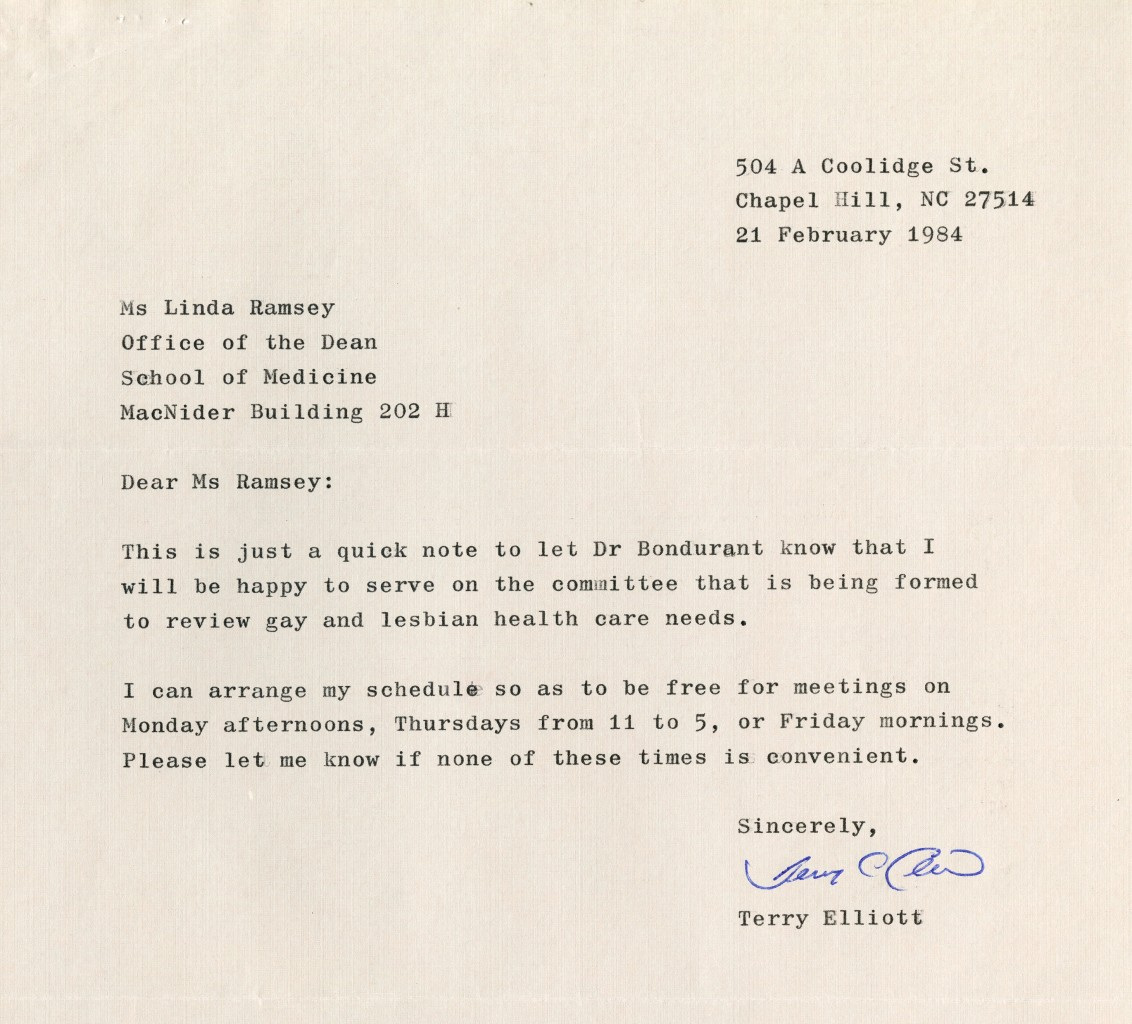 A student's letter expressing his willingness to serve on the Committee.  From Box 1:1:15, the Records of the Office of the Dean of the School of Medicine, #40118