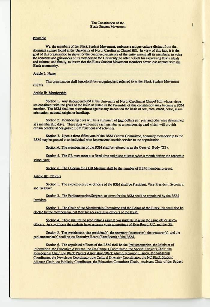 The Constitution of the Black Student Movement from folder 25, box 3, of the Records of the Black Student Movement, #40400, University Archives, Wilson Library, the University of North Carolina at Chapel Hill.