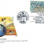 """Postal cachet by artist David K. Stone on the theme """"Science, Technology, and Health."""" Issued February 16, 1994."""