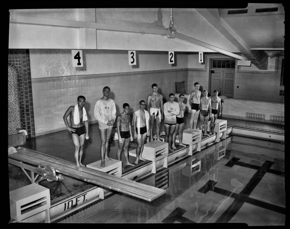 """Intramural: swimming, group of ten,"" 5 October 1961.  From the UNC Photographic Laboratory Collection, P00031."
