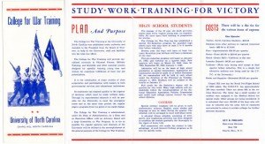 College for War Training brochure, 1942.  From the Records of the Vice President for Finance, #40011, University Archives.