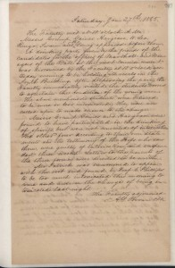 Minutes of the faculty, 27 January 1855. From the General Faculty and Faculty Council Records (#401406), University Archives.