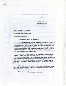 President Gordon Gray's reply to a concerned North Carolinian, 1952 (From the Office of President of the University of North Carolina (System): Gordon Gray Records, 1950-1955, 40008, University Archives)