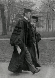 Edward Kidder Graham (left) with Kemp Plummer Battle on the UNC campus, ca. 1910s. NCC Photo Archives.