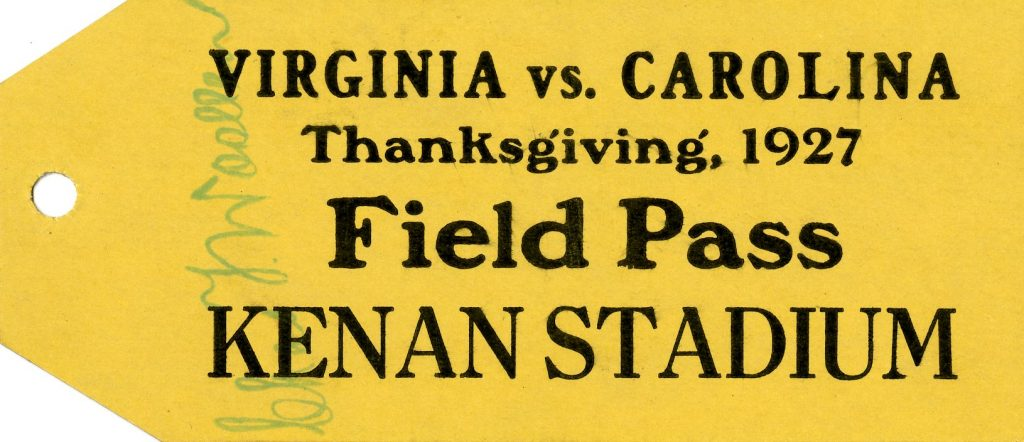 Field Pass for the dedication game at Kenan Stadium, signed by C.T. Woolen. From the Department of Athletics Records (#40093) University Archives.