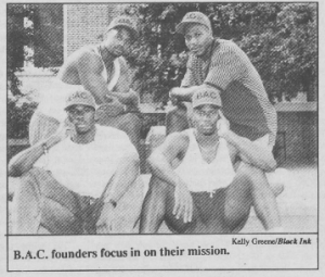 Black Awareness Council founders. From Black Ink, 8/31/1992.