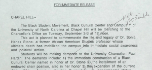 Announcement of student demands with Chancellor Hardin's handwritten annotations.