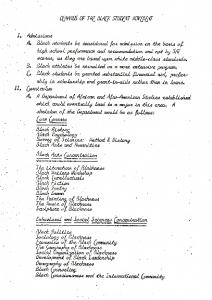 Black Student Movement Demands, 1968.
