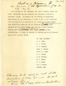 Petition signed by UNC faculty against the Poole Bill (from the University of North Carolina Papers, #40005, University Archives)