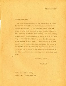 Letter from President Chase to Dr. Cobbs (from the University of North Carolina Papers, #40005, University Archives)