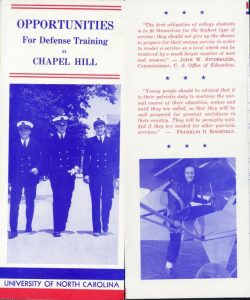 """Opportunities for Defense Training at Chapel Hill"" brochure,"" UNC Libraries, accessed February 23, 2016, http://exhibits.lib.unc.edu/items/show/2686."