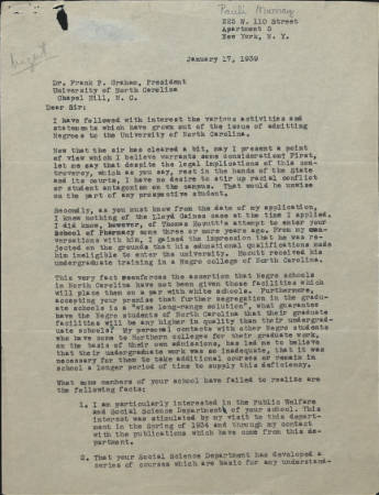 Image of a letter from Pauli Murray to Frank Porter Graham, UNC-Chapel Hill University President, January 17, 1939.