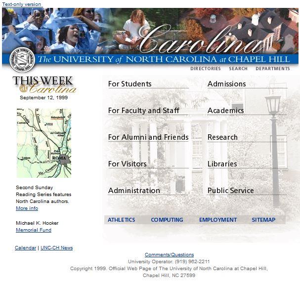 UNC homepage, 9/12/1999