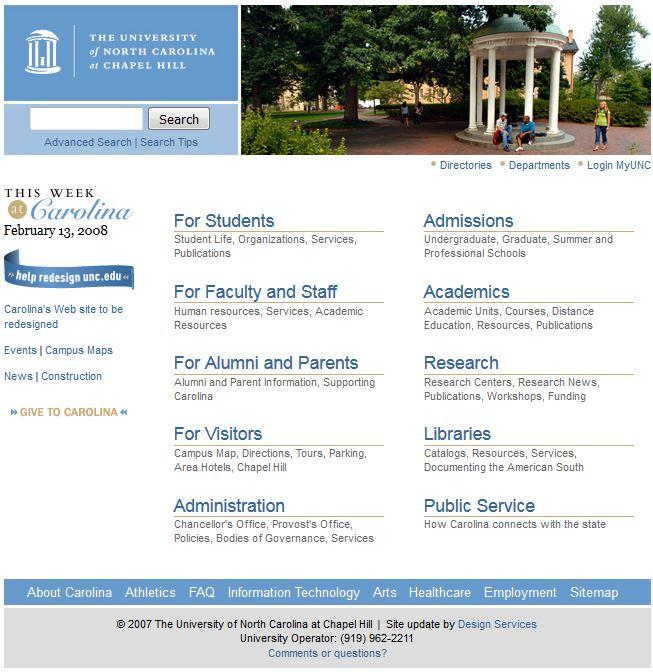 UNC homepage, 2/13/2008