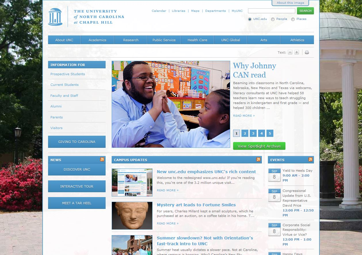 UNC homepage, 7/14/2010