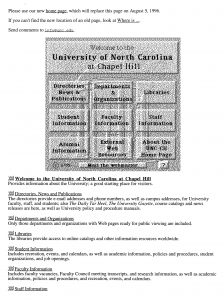 UNC Homepage, 1995