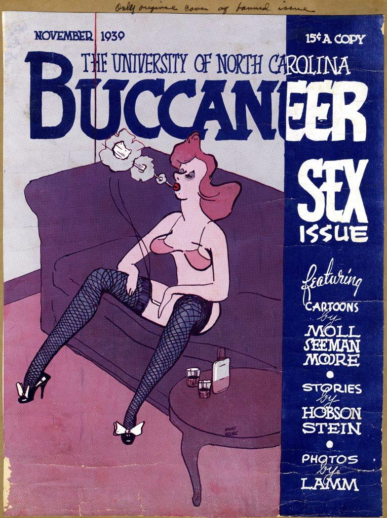 """Original, uncensored cover of the November 1939 Buccaneer """"Sex Issue."""" William Stauber Papers, University Archives"""