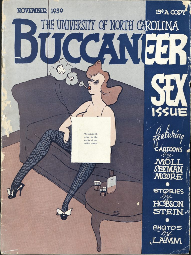 """Revised cover of the Buccaneer """"Sex Issue."""" North Carolina Collection."""