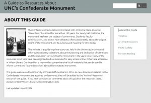 A Guide to Resources About UNC's Confederate Monument