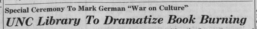 Daily Tar Heel, 9 May 1943.