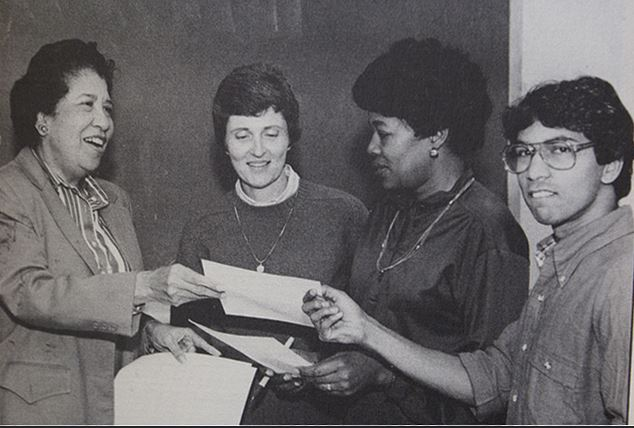 Hortense McClinton (left) with students in the School of Social Work ca. 1984. School of Social Work catalog, 1984-1985,
