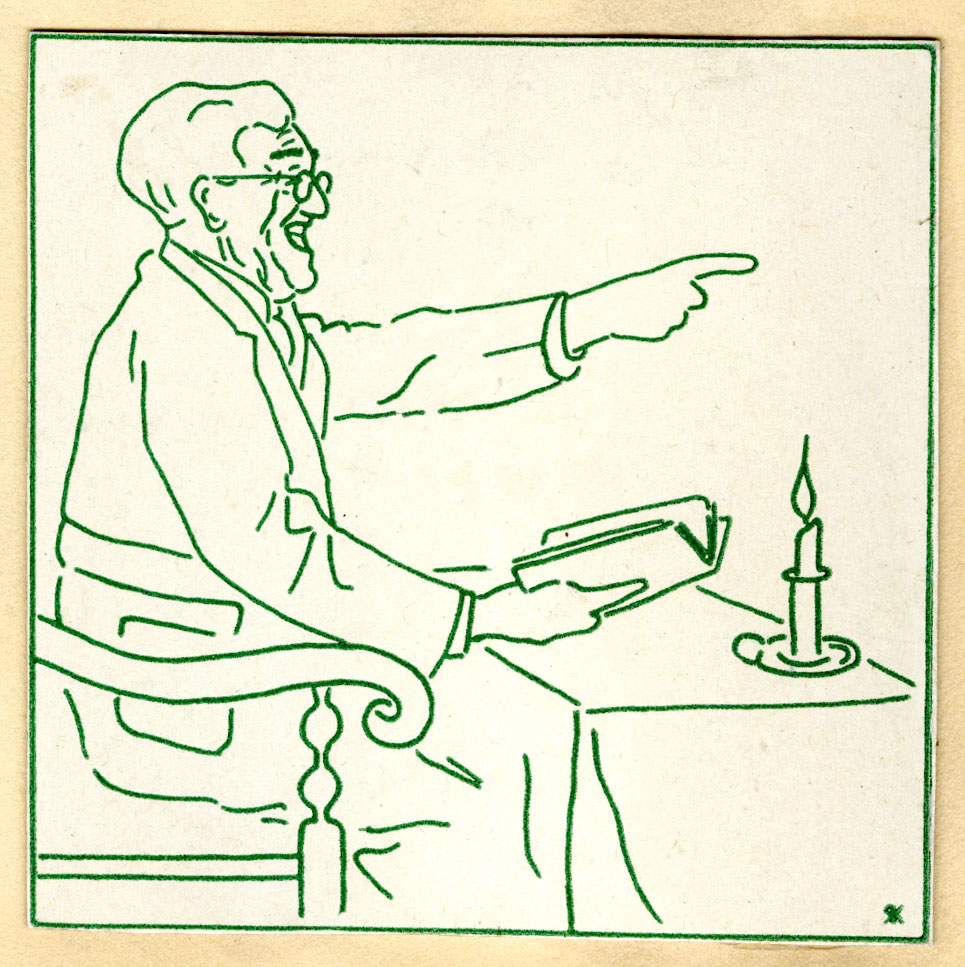 A drawing, in green on a white background, of Frederick Koch seated at a table with a candle on it, holding a book and pointing as he reads.