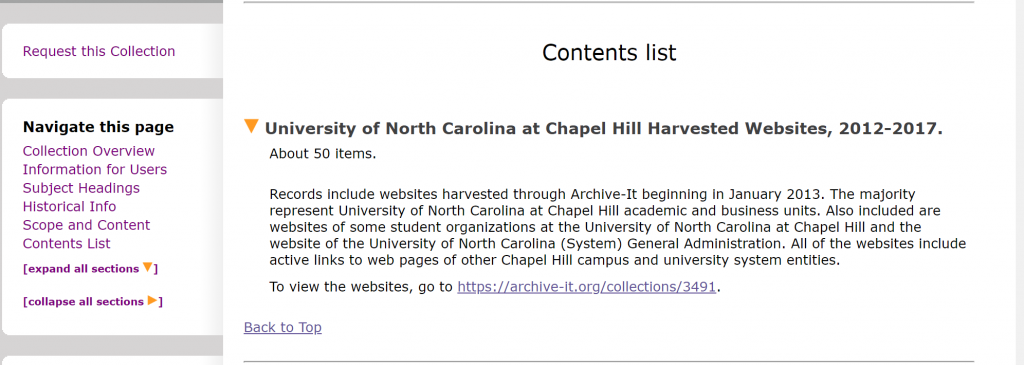 Screenshot of a portion of a finding aid describing the University Archives archived website collection.