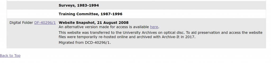 Screenshot of finding aid section describing archived website given to us on DVD