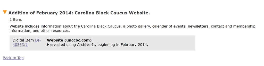 Screenshot of a finding aid section describing the Carolina Black Caucus archived website.