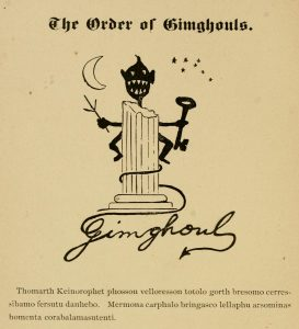 """A portion of a yearbook page that says """"The Order of Gimghouls"""" at top and features the Gimghoul icon of a creature behind a column holding a key. Its tail spells """"Gimghoul."""" A message, in code, is below."""