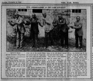 "A newspaper article titled ""Five Cheerleaders at the Game Saturday"" with a photo a five black men."