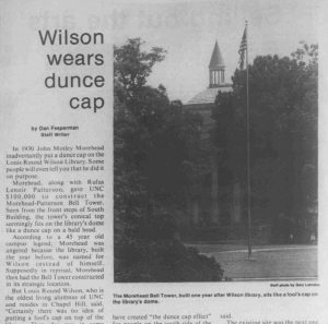 """Wilson Wears Dunce Cap"" article, Daily Tar Heel, August 25, 1975"