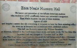 Zora Neale Hurston Hall sign in the design of a plaque.
