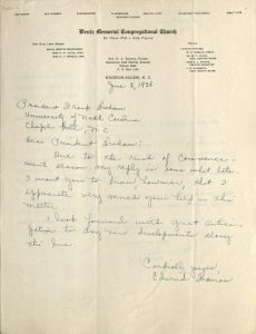 Scan of letter June 1938 Edwina Thomas to Frank Graham